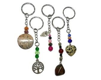 Crystal key chains, Wholesale lot of 5, bulk purchase, owl key chain, tree of life key chain, bulk purchase, stone keychains, jasper stones