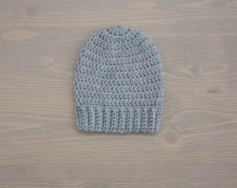Slouchie Baby Beanie, Crochet Baby Beanie, Crochet Baby Hat, Ribbed Beanie, Baby Shower Gift, Newborn Photo Prop, Toddler Beanie, Grey Hat