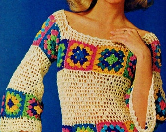 Granny Square Blouse Vintage Crochet Pattern Download