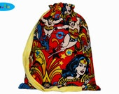Knitting Bag | Project Bag | Sock Bag | Knitting Project Bag | Drawstring Bag | Wonder Woman Bag