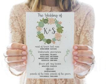 Printed OR Printable Wedding Program // Succulent Wreath