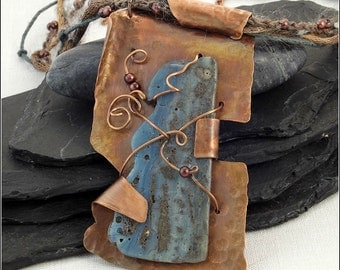 Wire Wrapped Leland Bluestone on Fold Formed Copper Pendant with Multi-Strand Crochet Beaded Cord