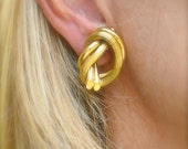 HOLD, 18K Gold Pretzel Knot Clip-On Earrings, 28 grams, Made in Italy