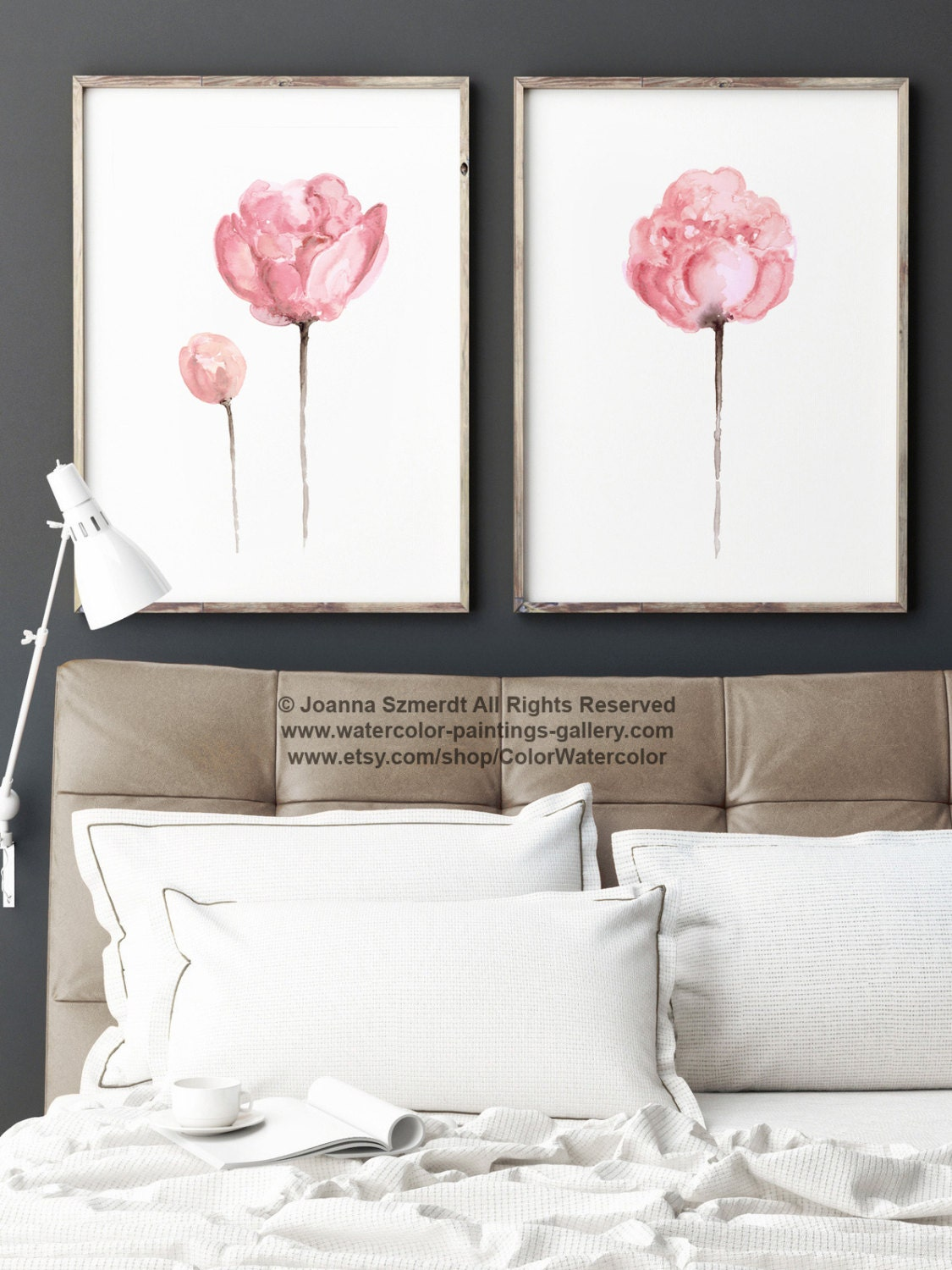 set of 2 watercolor peonies shabby chic home decor pink wall. Black Bedroom Furniture Sets. Home Design Ideas