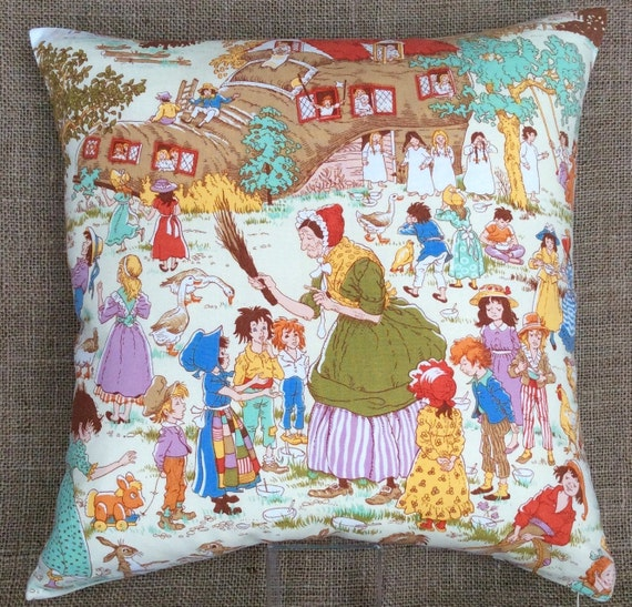 Vintage nursery by moygashel fabric cushion with by for Retro nursery fabric