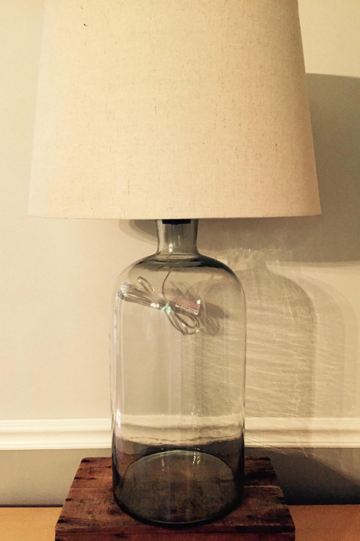 large hand blown glass bottle table lamp. Black Bedroom Furniture Sets. Home Design Ideas