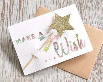Make a Wish Paper Cut Birthday Greetings Card with Magic Glitter Wand