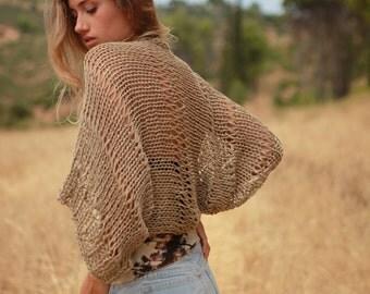 Beige loose knit shrug, women's loose weave bolero, hand knit summer cotton viscose shrug, handmade beige cropped cotton sweater