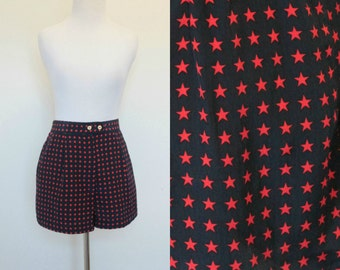SALE Vintage Tail Navy Blue Shorts// High Waist Star Print// Size Small Navy Blue Red Shorts// Elastic Waist Soft Polyester
