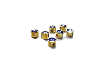 5 Pieces Lucky Evil Eye Matte Gold Plated Dark Blue Enameled Spacer bead, - EE015