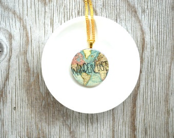 wanderlust jewelry , travel map necklace , world map necklace