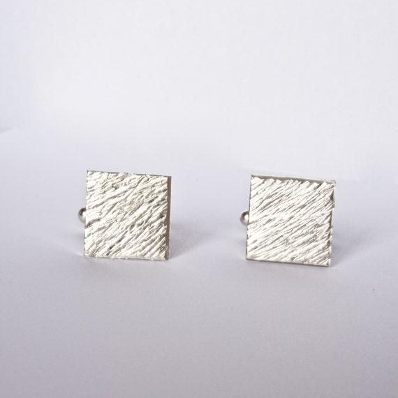Silver Cufflinks - Distressed Line Texture