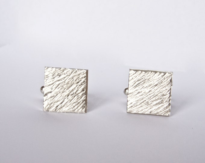 Silver Cufflinks - Distressed Line Texture - Recycled - Hammered Stripe Square Cuff Links - Men's Gift - Dad Boyfriend Husband