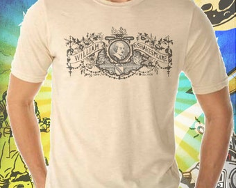 William Shakespeare Etching on Men's Tee Shirt
