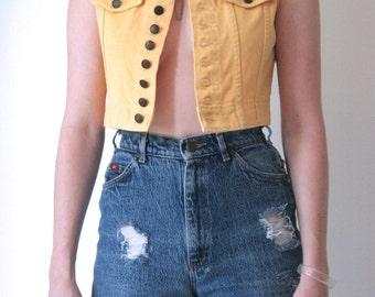 Vintage 90s Canary Yellow Denim Vest