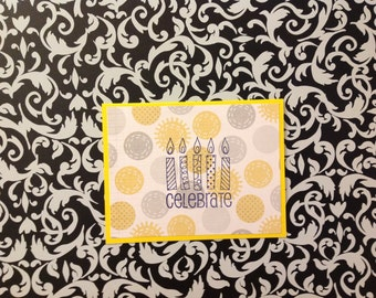 Yellow Happy Birthday Celebrate with Candles Card - Yellow and Gray Polka Dots with Matching Envelope