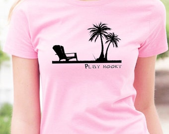 Beach Shirt with a Peaceful Tropical Feel, Palm Trees, Beach Chair, Short Sleeve Summer T-Shirt.