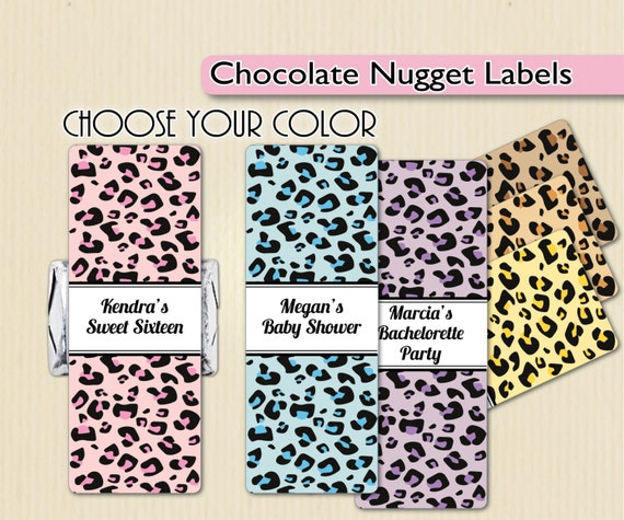 Leopard Print Baby Shower Supplies: Leopard Print Nugget Labels Baby Shower Favors Sweet 16