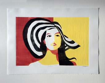 Sunstruck—contemporary mid-century painting, female fashion linocut print, graphic minimal pop art printmaking woman portrait