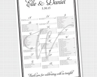 Elegant Wedding Seating Chart (Digital File) 100-160 lines of guest names