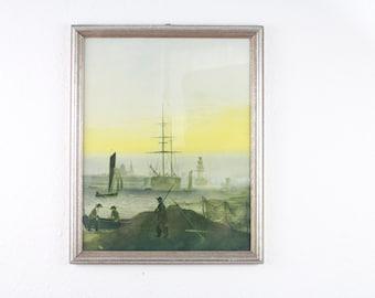 vintage art print Harbour of Greifswald Caspar David Friedrich picture baltic sea sailboat 60s 50s Romantic art