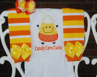Baby Girl Candy Corn Outfit! Candy Corn Cutie/Baby Girl Halloween Outfit/Candy corn leg warmer outfit/Candy corn leg warmers with bodysuit