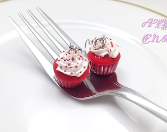 Red Velvet Cupcake Earrings, Earrings, Jewelry, Handmade, Miniature Food Jewelry, Cupcakes, Charms, Food Charms, Red Velvet, Valentine's Day