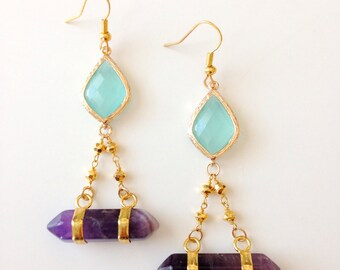 Boho Tribal Gemstone Chandelier Earrings