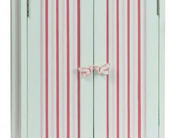 "Doll Armoire with Pink Stripes, Furniture Fits 18"" Girl Dolls"