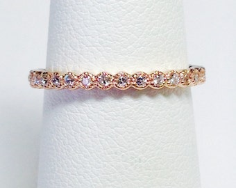 0.25CT Diamond Stackable Antique Style Art Deco 3/4 Eternity Wedding Band, Anniversary Rings Platinum, 18K, 14K White, Yellow, Rose Gold