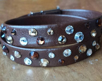 Eighties style rhinestone bracelet, double wrap leather Swarovski crystal bracelet, magnetic clasp