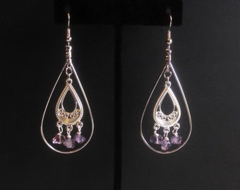 Dangle teardrop amethyst earrings
