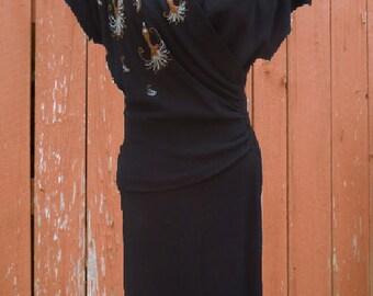 VINTAGE ANDA (Olds, Wortman & King) CREPE 1940s beaded dress