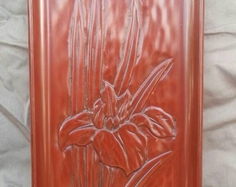 Old vintage carved lacquer tray Asian art floral flower iris