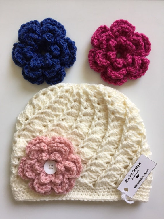 Interchangeable Crochet Flower Pattern : Crochet Hat for Girls Interchangeable Flower Newborn Baby