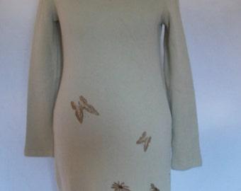 Vintage dress 70s Cotton jersey dress with butterfly pattern size small