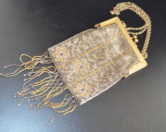 French Steel Cut Beaded Bag Art Deco Floral Design