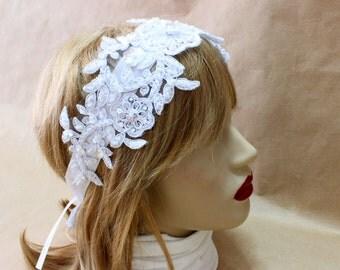 Bridal pearl lace headband, Lace wedding headband, Wedding Belt, Vintage bridal hair, Wedding Fascinator