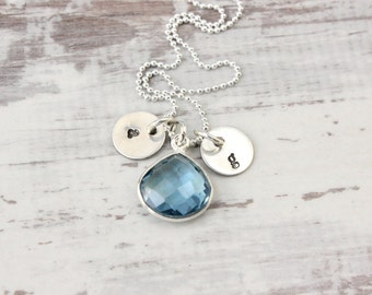 Initial necklace sterling silver Swarovski faceted Aquamarine pendant March birthstone, kids or couples initials, moms or lovers necklace