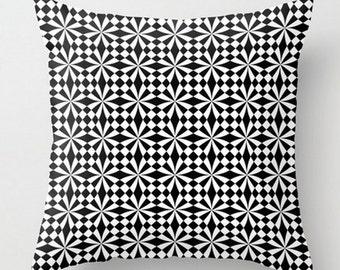 Geometric Throw Pillow, White Black Cushion, Modern Toss Pillow, Geometric Pillow, Decorative Pillow, 16x16 18x18 20x20, Sofa Decor Cushion
