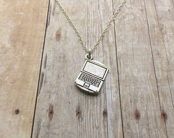 Vintage Laptop Necklace Gift for Computer Techy Geeky Gift, Gift for computer animator, Gift for nerd, Computer tech, Computer science gift