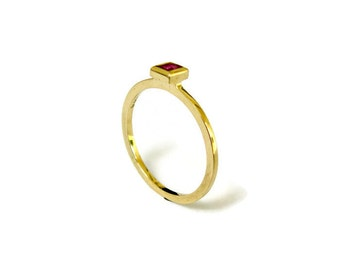 Ruby Ring, 14k Solid Gold, Stacking Ring, Thin Gold Ring with Ruby, Square Ring, Red Stone Ring, Ruby Jewelry