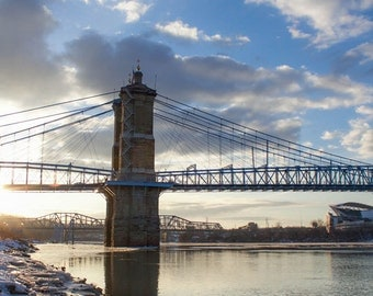 Roebling Suspension Bridge, Cincinnati photography, Urban winter, bridge photograph, urban sunset, blue art print, silver water, Frozen City