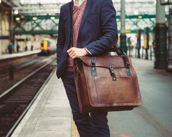Leather Duffle Bag, Large Men's Tote, Handmade Weekender Bag, Travel Overnight bag, Daytripper, Handbag, Holdall, Men's Fashion, Groom Gift