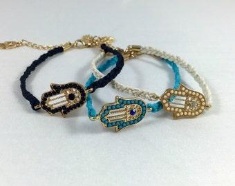Hamsa Bracelet - Evil Eye Bracelet - Hand of Fatima Bracelet - Nazar Protection - Simple Bracelet - Perfect Gift