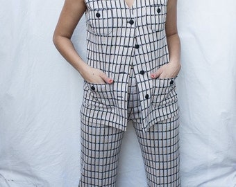 1970's Leisure Suit / Women's Small Vest and Pant Set / Vintage Two Piece Outfit