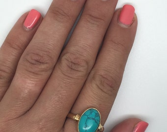 gold plated turquoise ring,turquoise stone,turquoise ring, gold plated ring,oval stone ring, oval ring