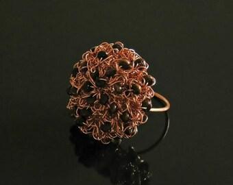 Wire crochet ring, wire crochet jewelry, copper rings, copper wire, wire crochet jewelry, crocheted rings, unique crochet jewelry