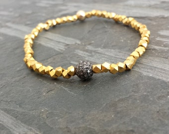Pave Diamond Ball Gold Beaded Nugget Stretch Bracelet, Simple Gold Stack Bracelet, Genuine Diamond Oxidized Silver Gold Mixed Metal