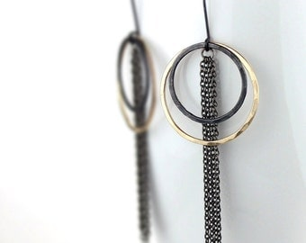 Hammered Gold Hoops with Black Circles and Gunmetal Chain, Double Hoop Statement Earrings